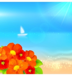 summer background with boat in the sea vector image