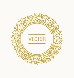 vintage frame in trendy linear frame for florist vector image vector image