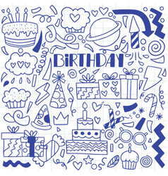 08-09-070 hand drawn party doodle happy birthday vector