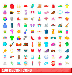 100 decor icons set cartoon style vector image