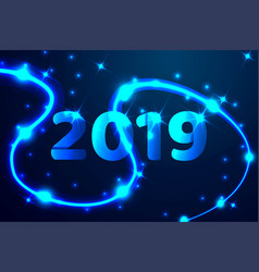 2019 blue text design low poly wireframe art on vector image