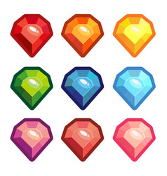 a set of colored crystals with a contour vector image