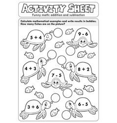 Activity sheet math theme 7 vector