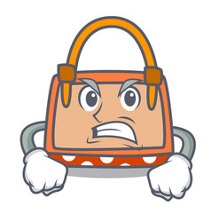 angry hand bag mascot cartoon vector image