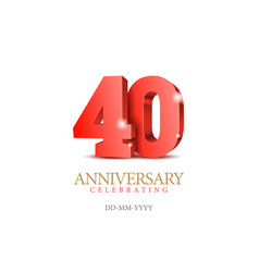 Anniversary 40 red 3d numbers vector