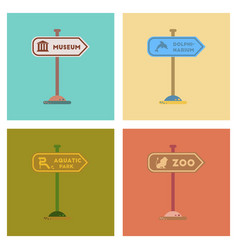 Assembly flat icons sign aquatic zoo dolphinarium vector