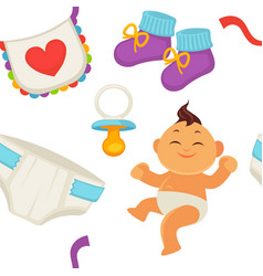 baby newborn kid and pram perambulator seamless vector image