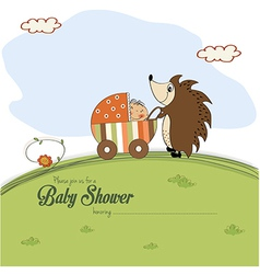 Baby shower card with a hedgehog that pushes a vector