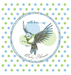 Baby shower cute bird frame over green and blue vector