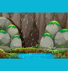 Background scene with raining in mountain vector