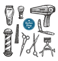 Barber Shop Set Doodle Sketch Icons vector