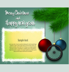 Bicycle wheel hanging on a christmas tree branch vector