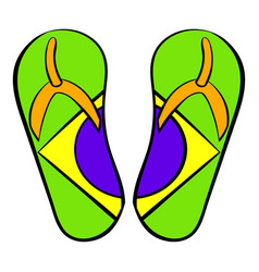 Brazilian flip flops icon cartoon vector