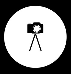 Camera on tripod simple black and green icon eps10 vector