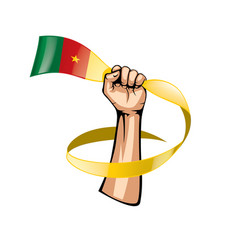 cameroon flag and hand on white background vector image
