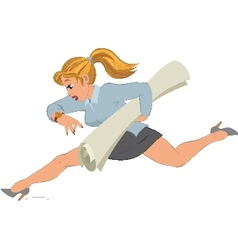 Cartoon girl running with paper in her hand vector