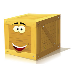 Cartoon wood box character vector