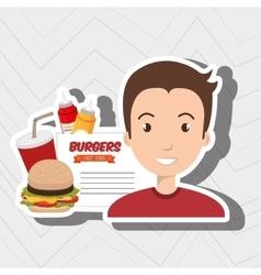 Child cartoon man fast food vector