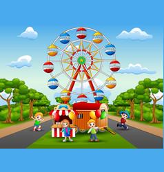 Children cartoons play in front of the amusement vector