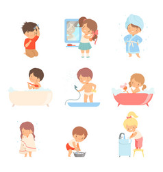 Children taking bath and washing themselves vector