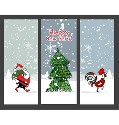 Christmas banners design Santa Claus and rooster vector image