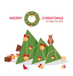 christmas card - cat dropped tree vector image