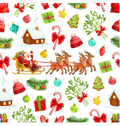 christmas gift xmas tree santa seamless pattern vector image