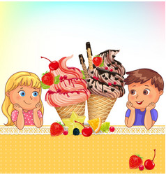 composition kids and ice cream blank place for vector image