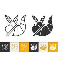 cornucopia thanksgiving day black line icon vector image