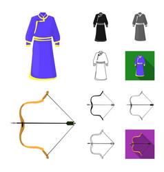 country mongolia cartoonblackflatmonochrome vector image
