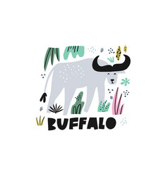 Cute buffalo flat hand drawn vector