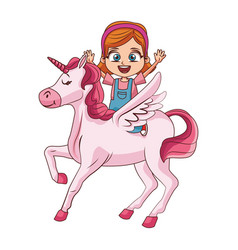 cute girl on unicorn cartoon vector image