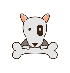 Cute little dog pit bull with bone fill style icon vector