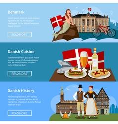 Danish Landmarks Flat Style Banners Set vector