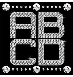 diamond letters on black set 01 vector image