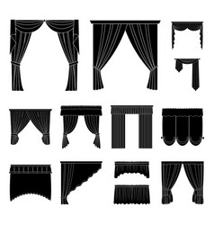 Different kinds of curtains black icons in set vector