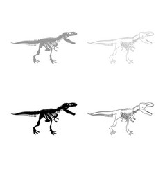 dinosaur skeleton t rex icon outline set grey vector image