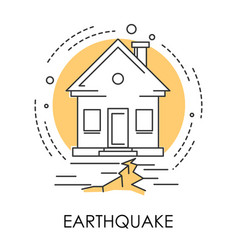 Earthquake isolated icon house and ground vector