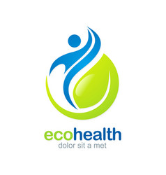 Eco health abstract fitness logo vector