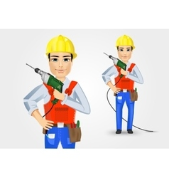 Electrician or mechanic holding electric drill vector
