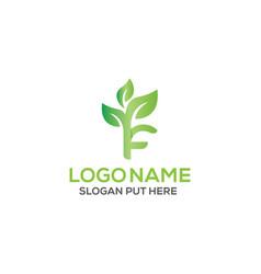 F letter eco logo design template vector