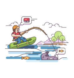 fisherman in rubber boat vector image