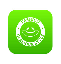 Glamour hat icon green vector
