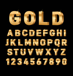 gold 3d font glossy rich alphabet trendy metal vector image
