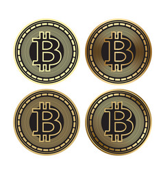 golden bitcoin - set of cryptocurrency vector image