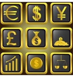 Golden finance buttons vector