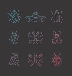 gradient bug icons vector image
