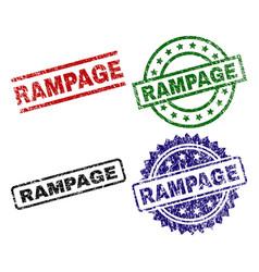 Grunge textured rampage stamp seals vector