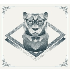 Halftone hipster tiger with black Dots vector image
