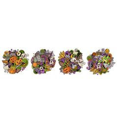 halloween cartoon doodle designs set vector image